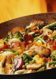 Akdeniz usulü tavuklu mantarlı sote